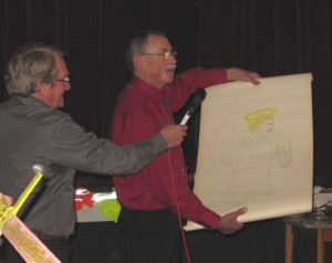 Georg und Richard mit Zeichnung